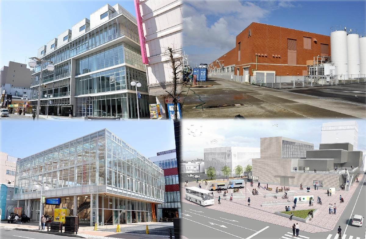 八戸市では大型公共施設の建設が相次ぎ、借金や維持管理費が膨らんでいる(写真はコラージュ、左上から時計回りにはっち、第3魚市場荷さばき施設A棟、新美術館の完成イメージ、マチニワ)