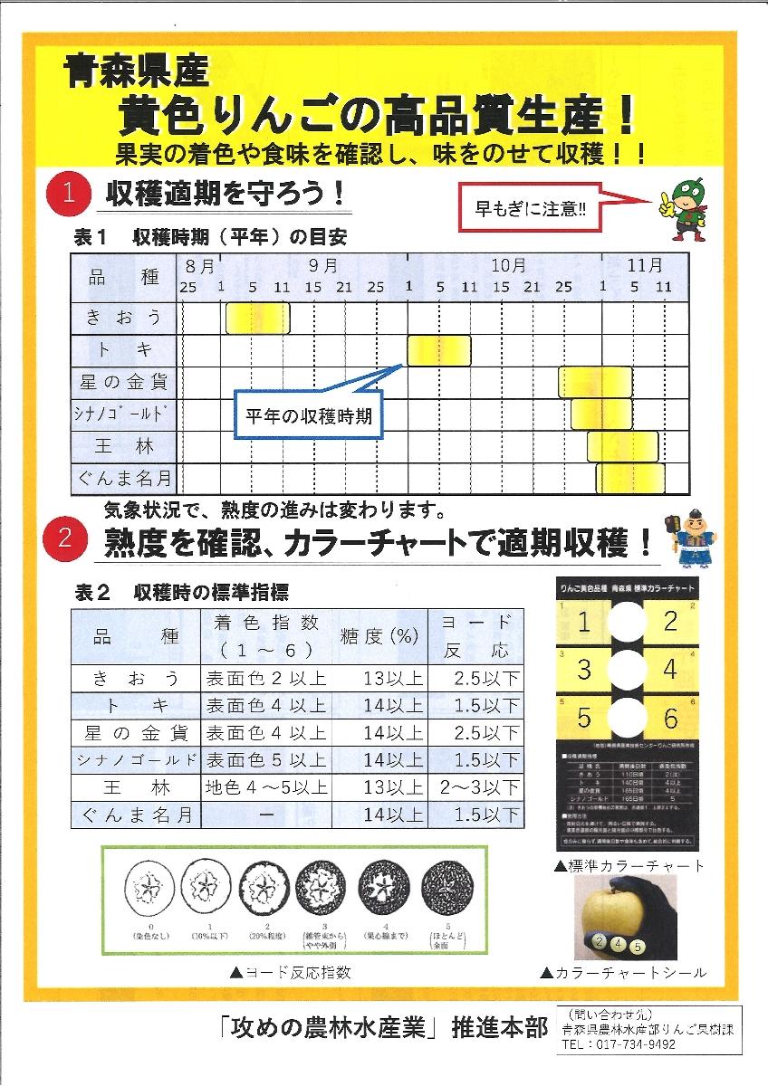 青森県が作成した黄色品種の適期収穫を呼び掛けるチラシ(県提供)