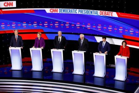 米民主党の候補者討論会(AP=共同)