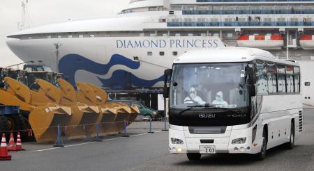 クルーズ船「ダイヤモンド・プリンセス」から埼玉県和光市の税務大学校に向け出発するバス。陰性が確認された80歳以上の希望者の下船が始まった=14日午後2時53分、横浜港
