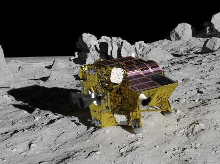 JAXAの月面探査機「SLIM」の想像図(JAXA提供)