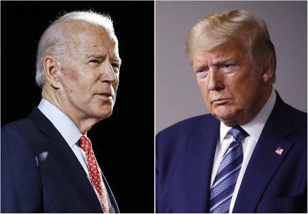 トランプ米大統領(右)とバイデン前副大統領(AP=共同)